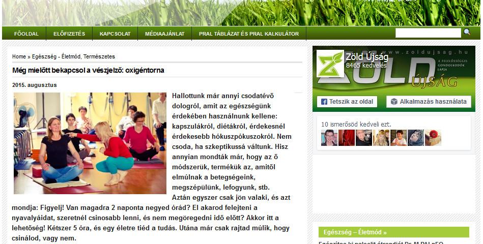 Oxigéntorna a Zöld Újságban